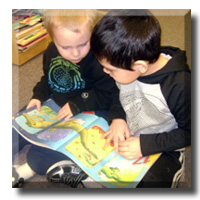 Preschool Boys Reading Book